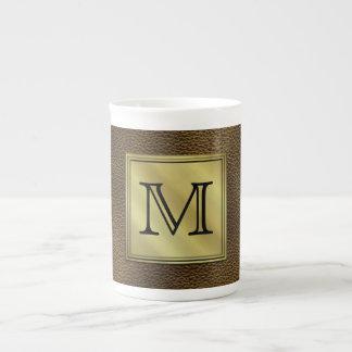 Printed Custom Monogram Image. Brown. Bone China Mugs