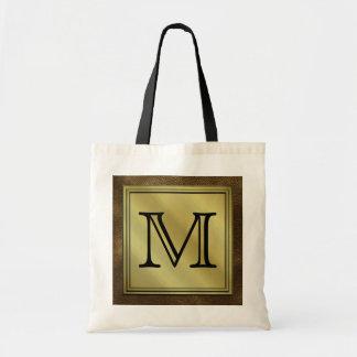 Printed Custom Monogram Image. Brown. Bag