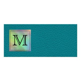 Printed Custom Monogram Image on Teal Pattern. Custom Rack Card