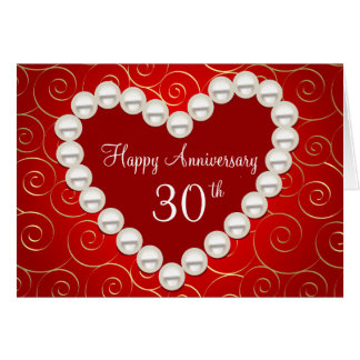 Printed Faux pearl red and gold anniversary Card