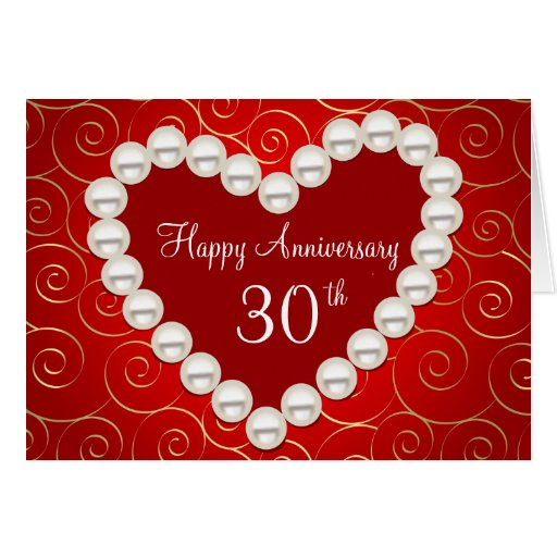Printed Faux pearl red and gold anniversary Greeting Card