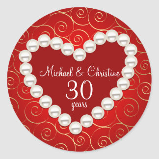 Printed Faux pearl red and gold anniversary Round Sticker