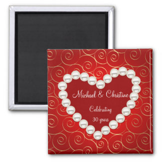 Printed Faux pearl red and gold anniversary Square Magnet