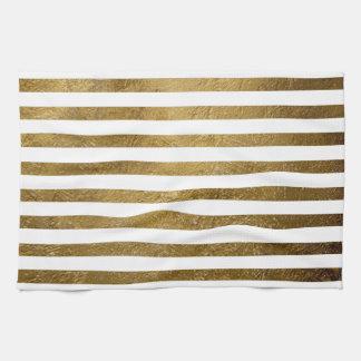 printed gold color stripes tea towel