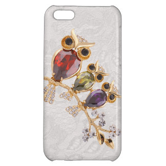 Printed Gold Owls Jewels Paisley Lace iPhone 5C Covers