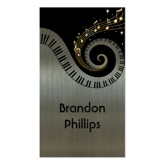 Printed Metallic effect Piano Keys Gold Music Business Card Template