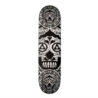 Printed metallic silver effect sugar skull style o skateboard deck