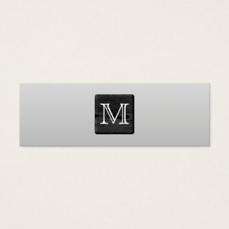 Printed Pattern and Custom Letter. Black and White Mini Business Card