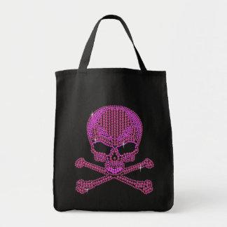 Printed Pink Rhinestone Skull & Crossbones Bags