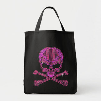 Printed Pink Rhinestone Skull & Crossbones Tote Bag