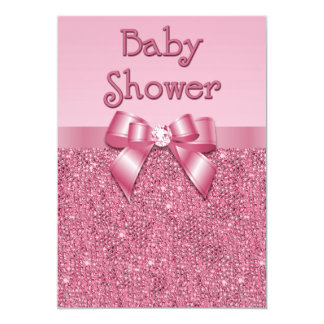 Printed Pink Sequins and Bow Girls Baby Shower 13 Cm X 18 Cm Invitation Card