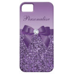 Printed Purple Sequins, Bow & Diamond Case For The iPhone 5