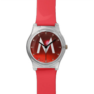 PRINTED RED RUBY GEMSTONE MONOGRAM WRIST WATCHES