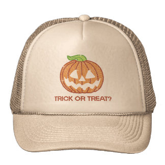 Printed Rhinestone Pumpkin Trick or Treat Cap