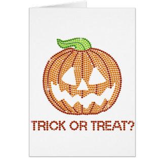 Printed Rhinestone Pumpkin Trick or Treat Greeting Cards