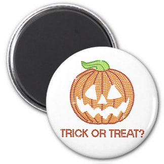 Printed Rhinestone Pumpkin Trick or Treat Refrigerator Magnet