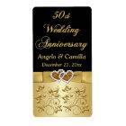 PRINTED RIBBON 50th Wedding Anniversary Wine Label