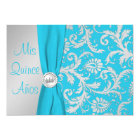 PRINTED RIBBON Aqua, Silver Photo Quinceanera Card