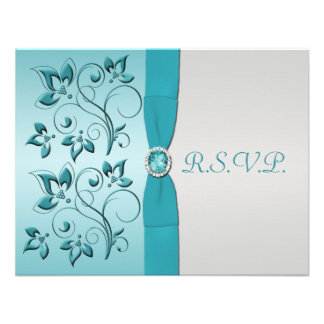 PRINTED RIBBON Aqua Silver Reply Card