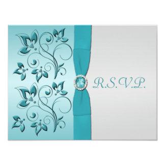 PRINTED RIBBON Aqua, Silver Reply Card Personalized Invitation