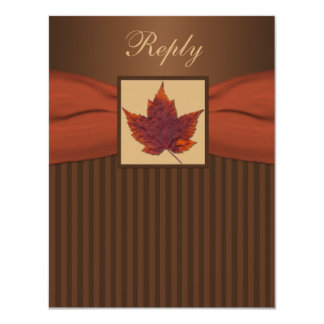 PRINTED RIBBON Autumn Leaf Stripes Wedding RSVP 11 Cm X 14 Cm Invitation Card