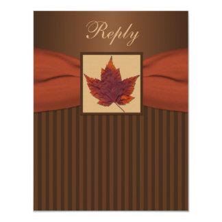 PRINTED RIBBON Autumn Leaf Stripes Wedding RSVP Card