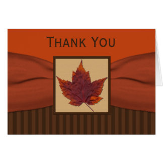 PRINTED RIBBON Autumn Leaf Thank You Note Card