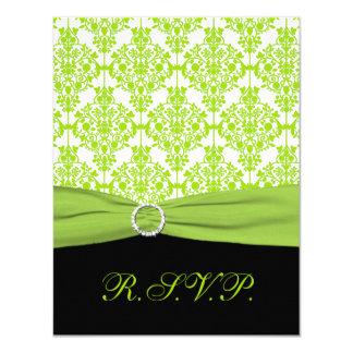 PRINTED RIBBON Black, Green Damask Reply Card