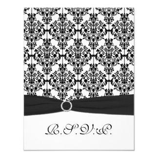 PRINTED RIBBON Black, White Damask II RSVP Card 11 Cm X 14 Cm Invitation Card