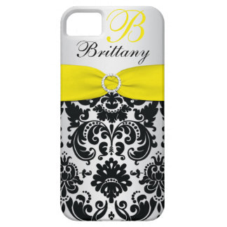 PRINTED RIBBON Black Yellow Silver Damask iPhone 5 iPhone 5 Cases