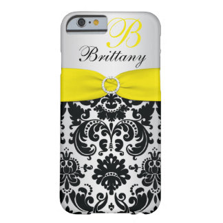 PRINTED RIBBON Black Yellow Silver Damask iPhone 6 Barely There iPhone 6 Case