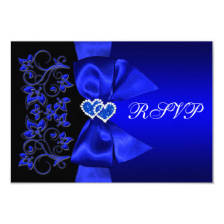 PRINTED RIBBON Blue, Black Floral Wedding RSVP 9 Cm X 13 Cm Invitation Card