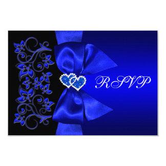PRINTED RIBBON Blue, Black Floral Wedding RSVP Card