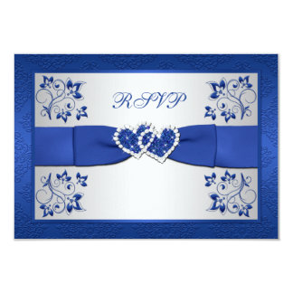 PRINTED RIBBON Blue, Silver Floral Reply Card 9 Cm X 13 Cm Invitation Card