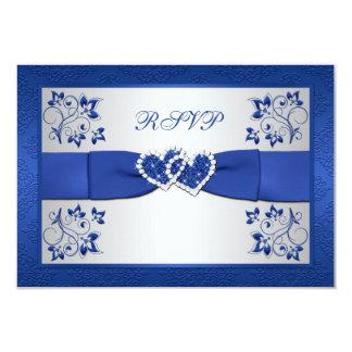 PRINTED RIBBON Blue, Silver Floral Reply Card 9 Cm X 13 Cm Invitation Card
