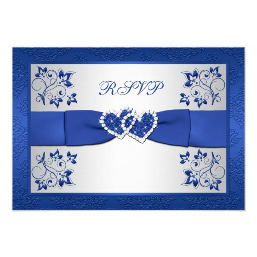 PRINTED RIBBON Blue, Silver Floral Reply Card