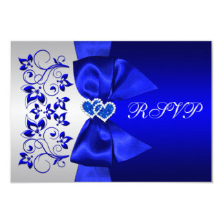 PRINTED RIBBON Blue, Silver Floral Wedding RSVP 9 Cm X 13 Cm Invitation Card