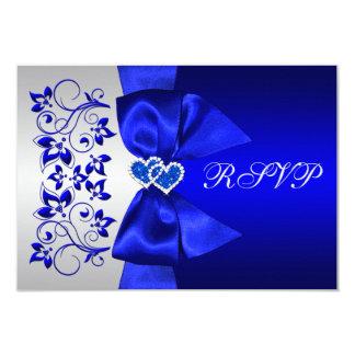 PRINTED RIBBON Blue, Silver Floral Wedding RSVP Card