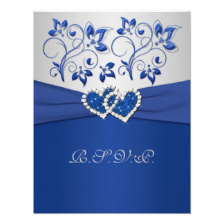 PRINTED RIBBON Blue Silver Joined Hearts RSVP Card