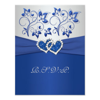 PRINTED RIBBON Blue Silver Joined Hearts RSVP Card 11 Cm X 14 Cm Invitation Card