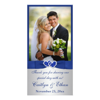 PRINTED RIBBON Blue, Silver Wedding Photo Card