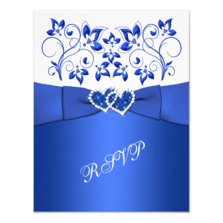 PRINTED RIBBON Blue, White Floral, Hearts RSVP 11 Cm X 14 Cm Invitation Card