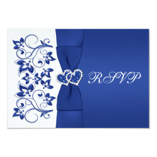 PRINTED RIBBON Blue, White Floral Reply Card 9 Cm X 13 Cm Invitation Card