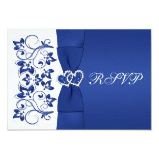 PRINTED RIBBON Blue, White Floral Reply Card 9 Cm X 13 Cm Invitation Card