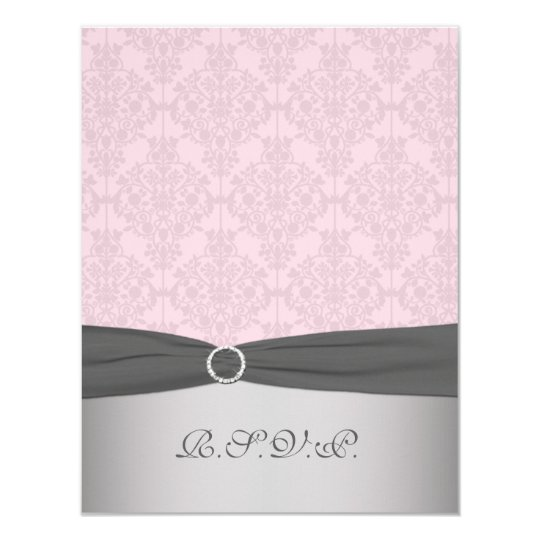 PRINTED RIBBON Grey, Pink Damask RSVP Card