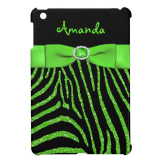PRINTED RIBBON Lime Glitter Zebra iPad Mini Case