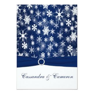 PRINTED RIBBON Navy Blue, White Snowflakes Wedding Card