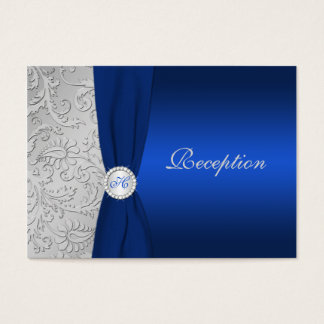 PRINTED RIBBON Navy Silver Damask Enclosure Card