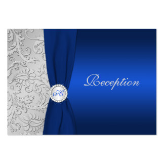 PRINTED RIBBON Navy Silver Damask Enclosure Card Pack Of Chubby Business Cards