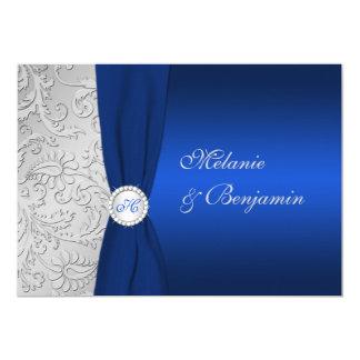 PRINTED RIBBON Navy Silver Damask Wedding Invite